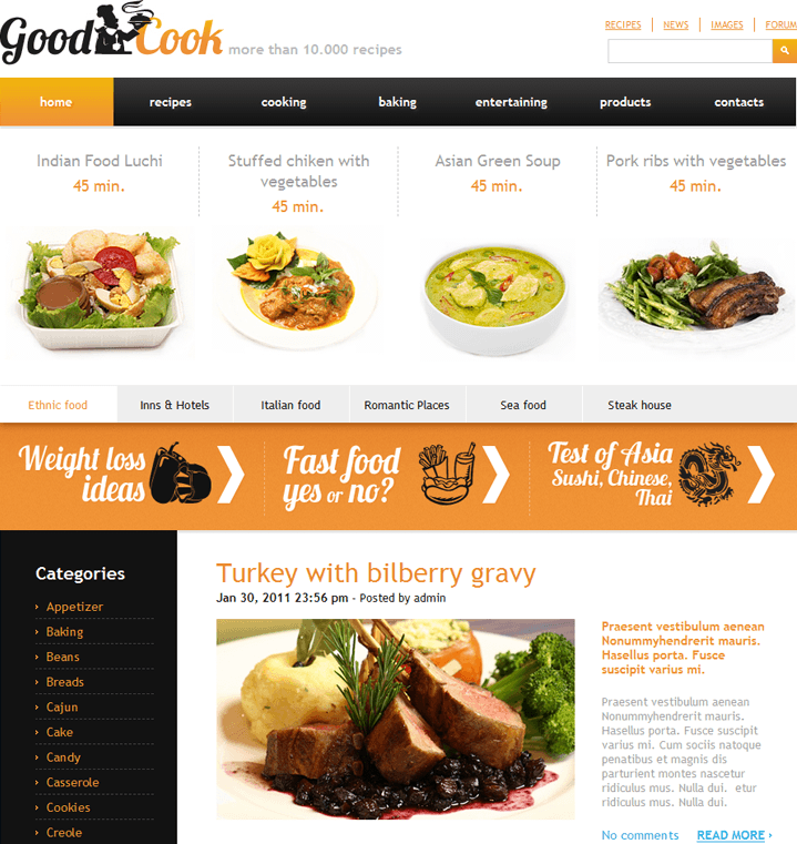 Good Cook wordpress theme for chefs