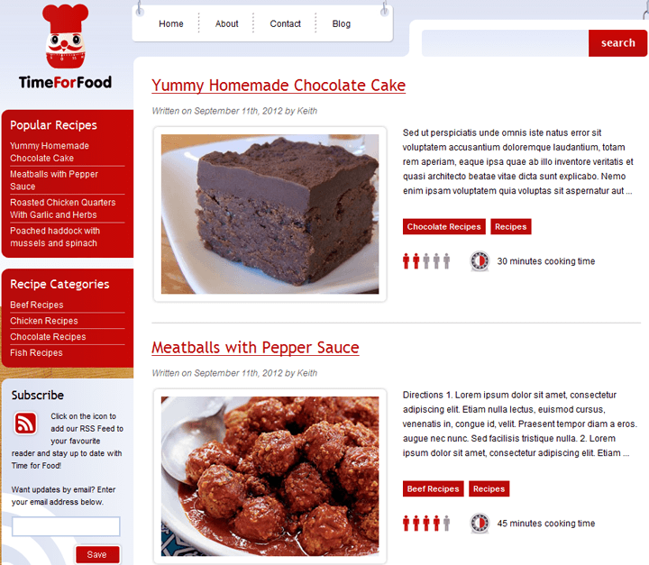 time for food wordpress theme