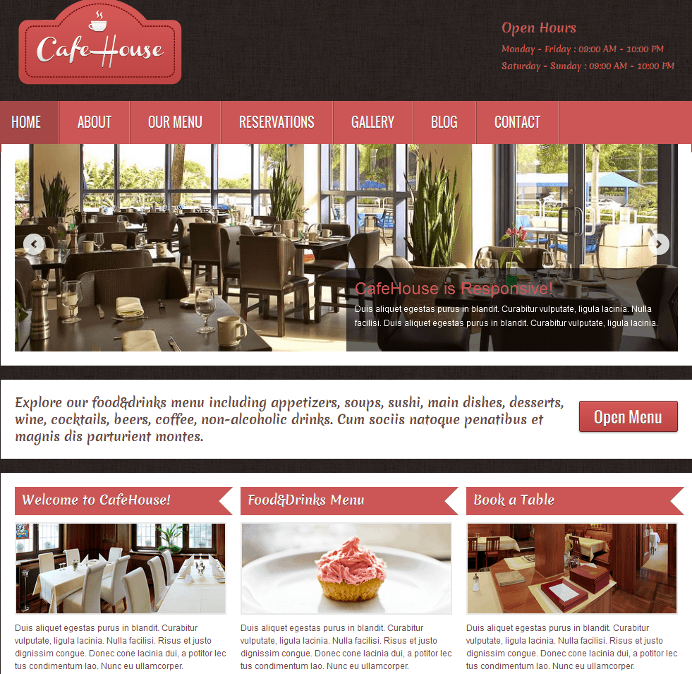 Cafe house wordpress theme