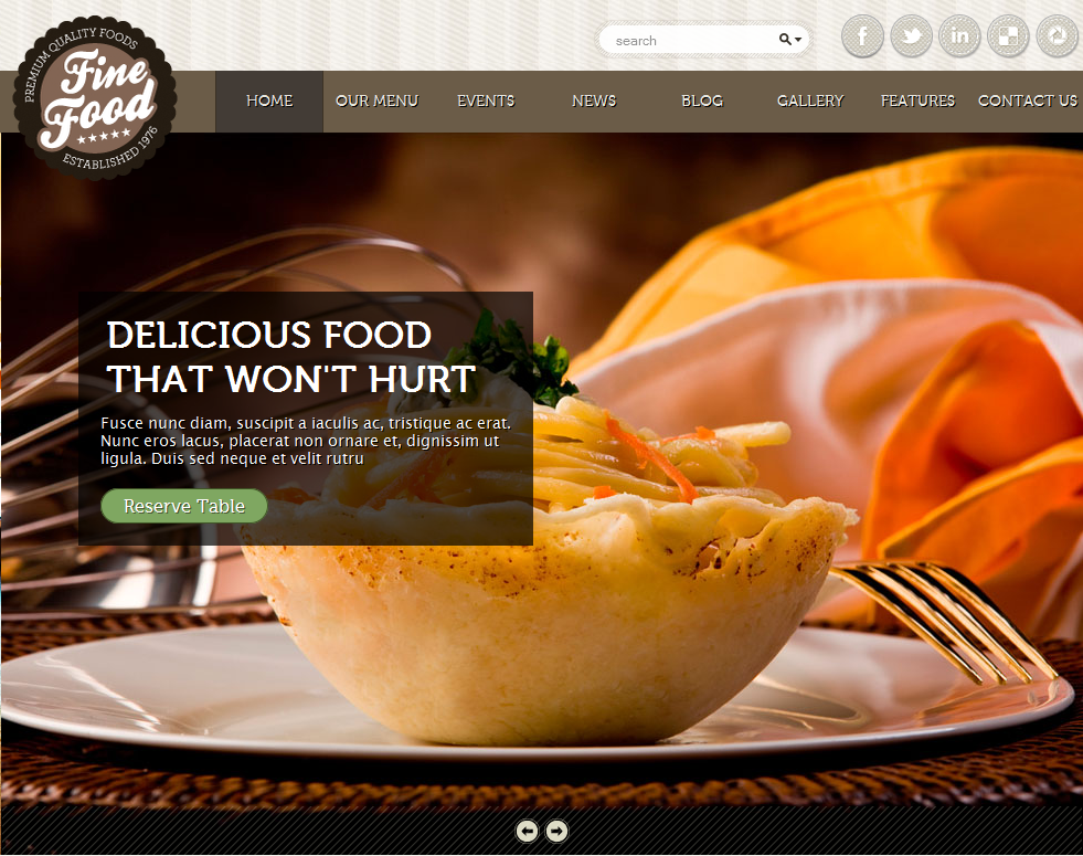 fine food - restaurant wordpress theme