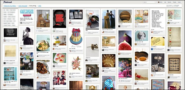 pinterest - social media of beautiful images