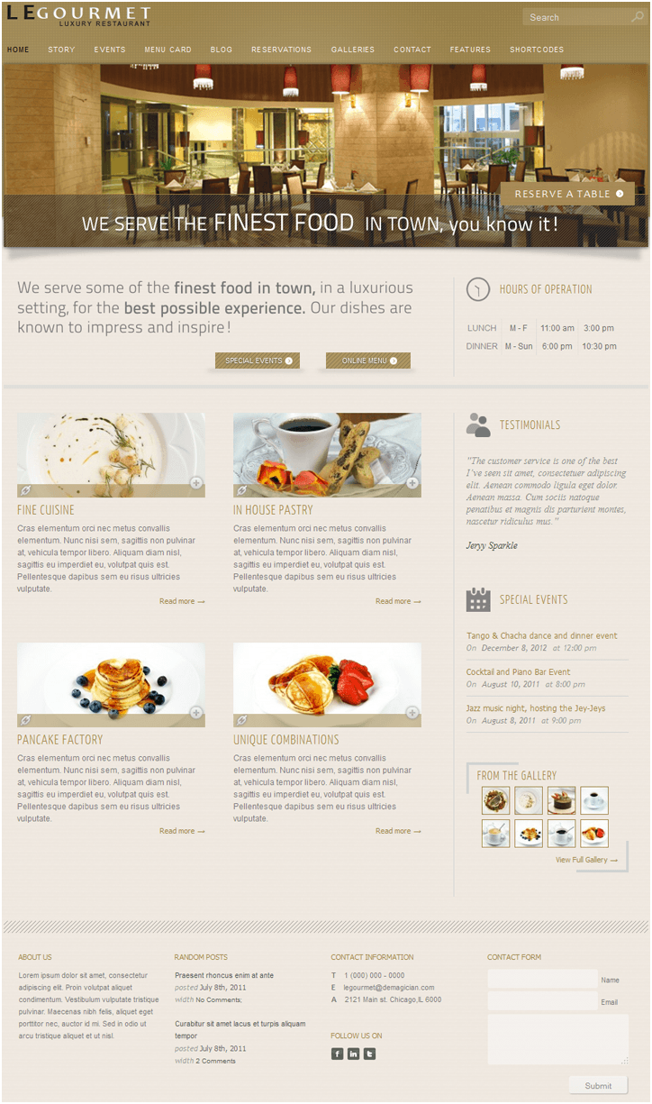 LeGaurmet  Restaurant wordpress theme