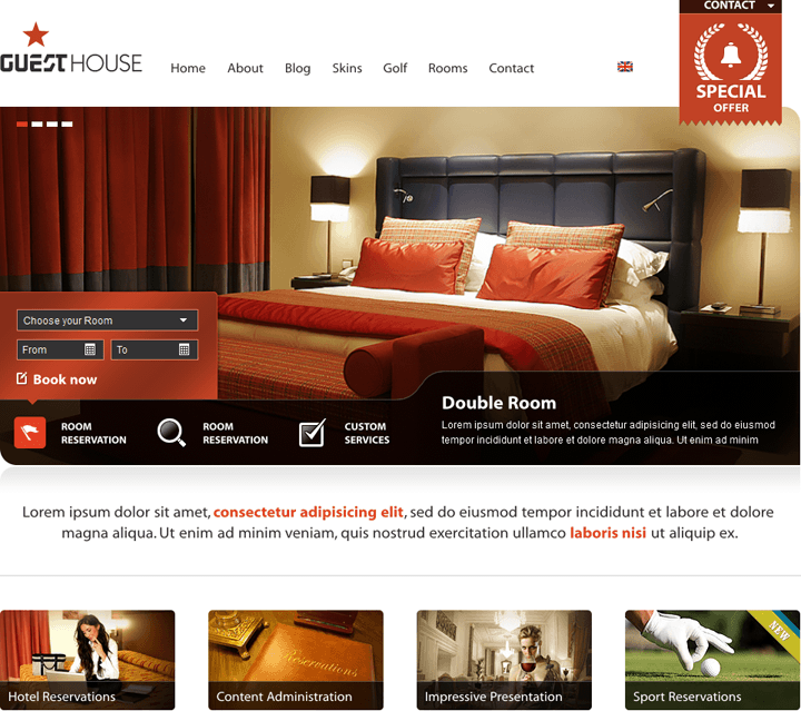 GuestHouse Specialized WordPress Theme for Hotels