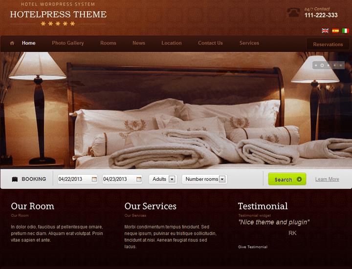 Hotel reservation wordpress theme
