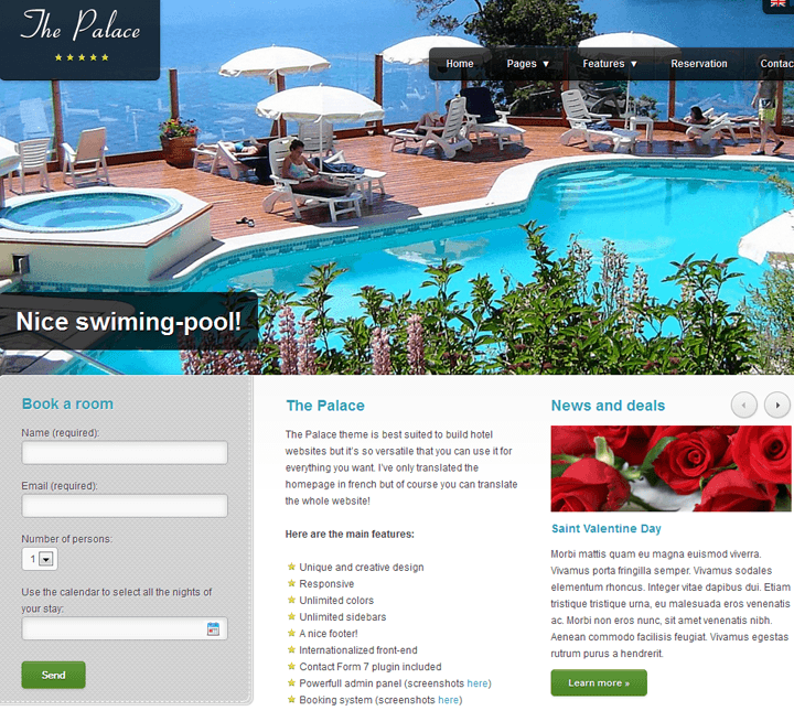 The Palace wordpress hotel booking  theme