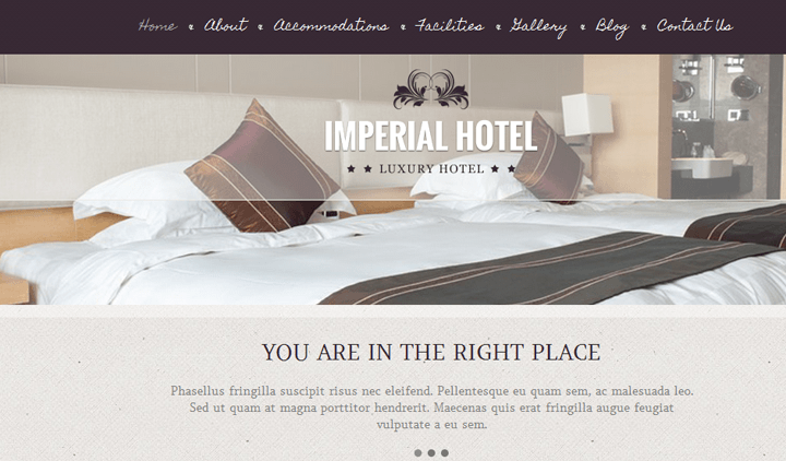 imperial hotel wordpress theme