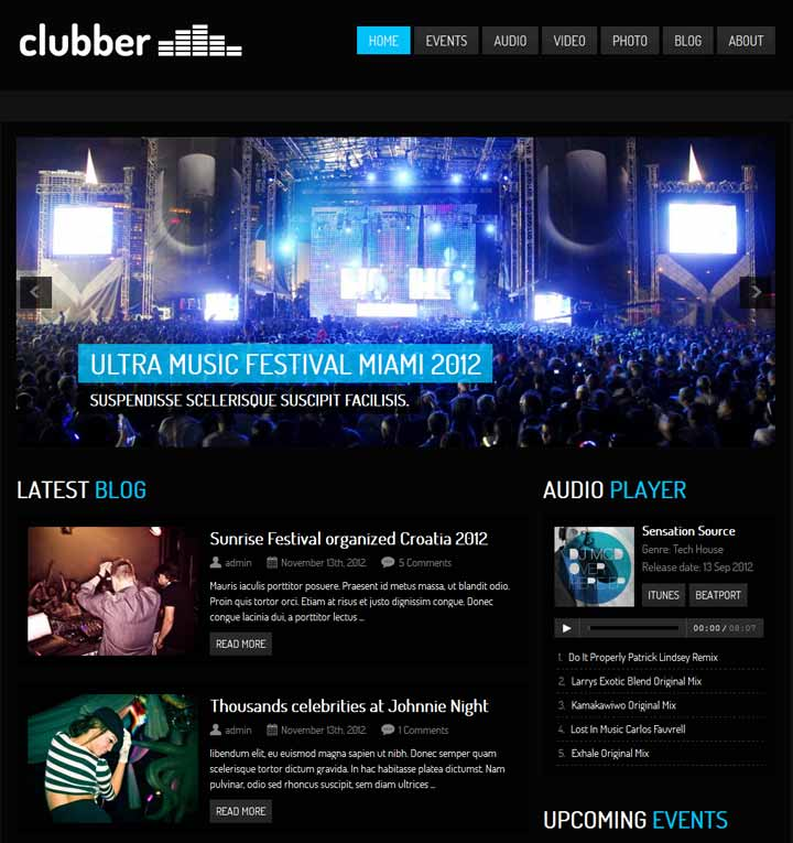 clubber wordpress theme for musicians