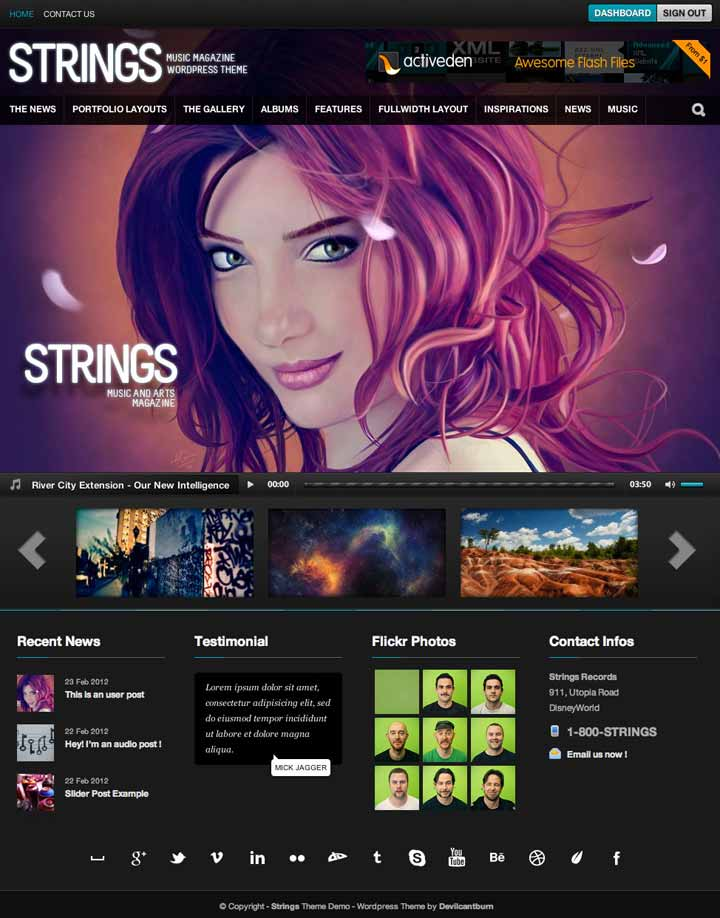 string wp music theme
