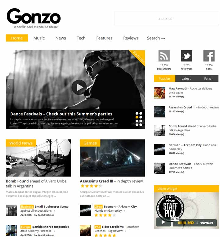 Gonzo wordpress theme download