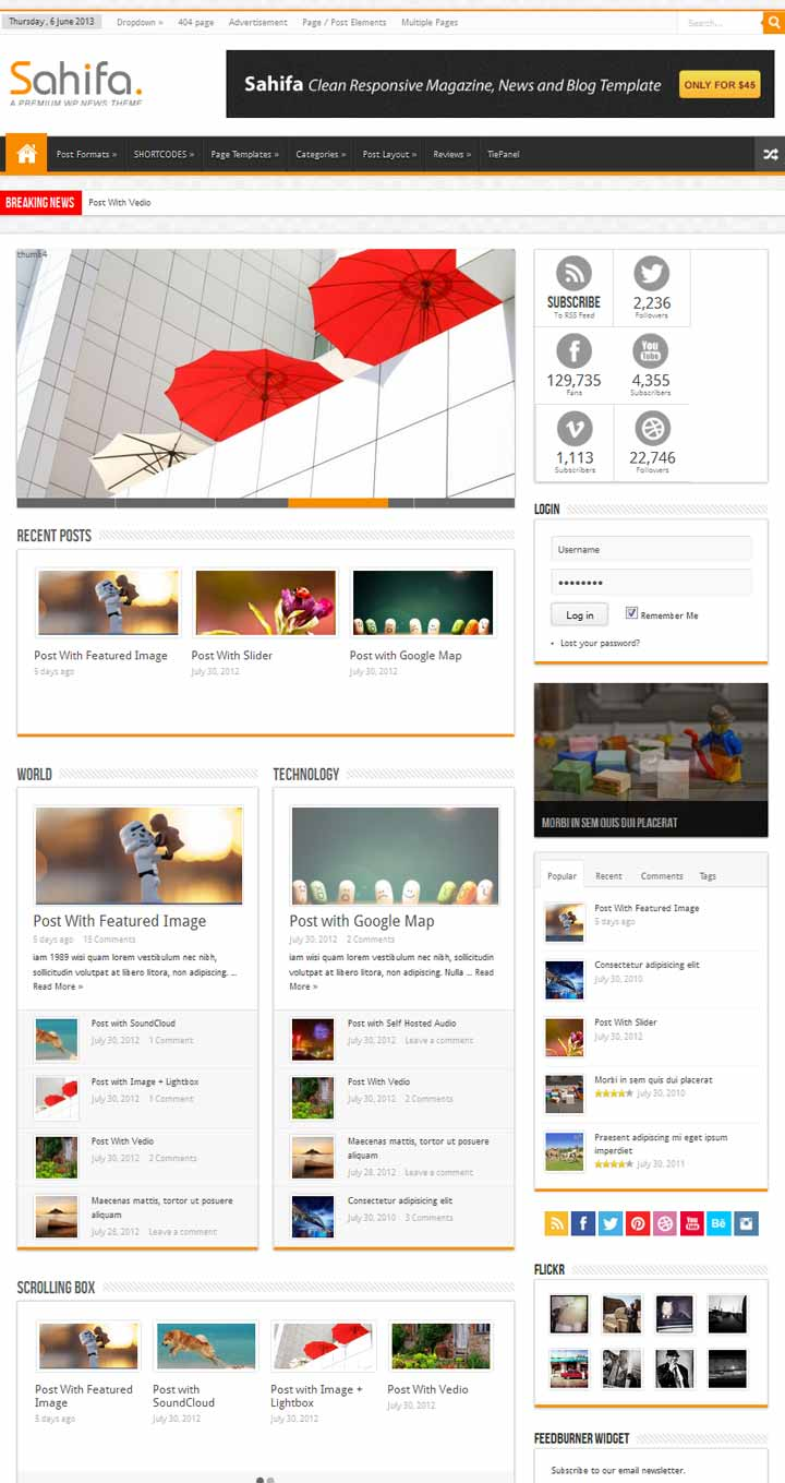 Sahifa wordpress news theme