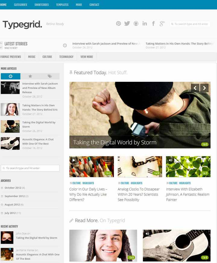 grid wordpress news theme
