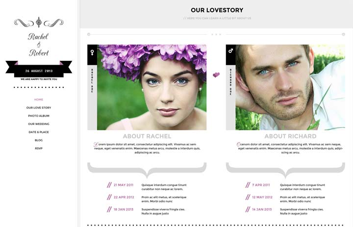Lovestory - wedding wordpress theme