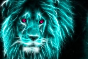 neon light lion wallpaper