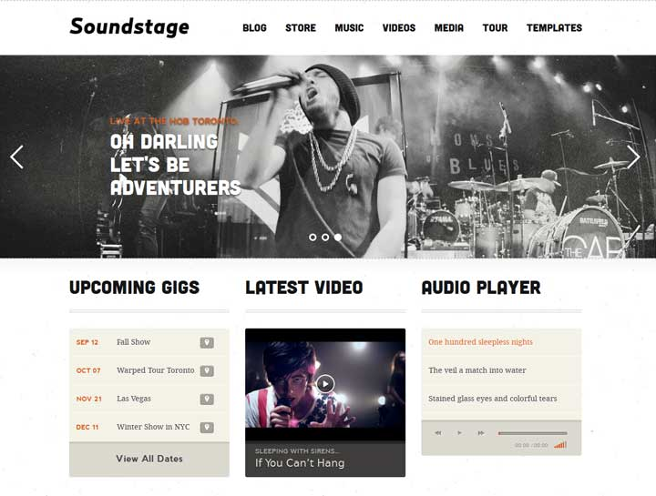 wordpress theme for music bands