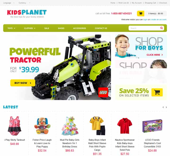 opencart theme for toy store