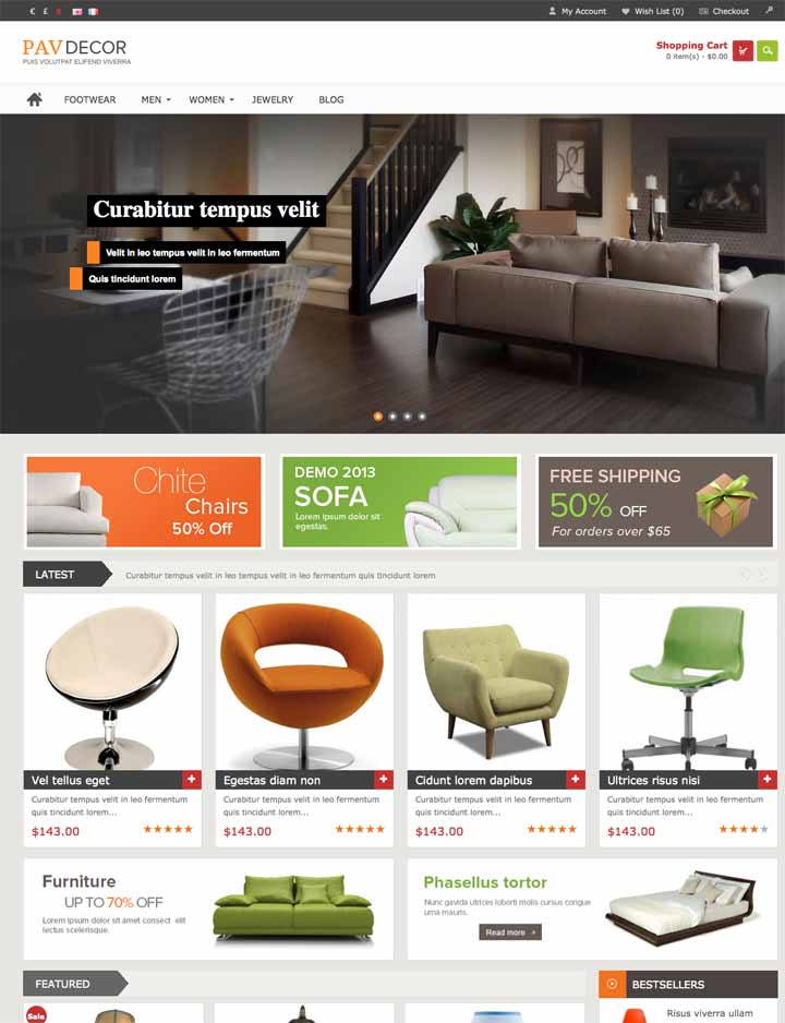 Opencart Theme for furniture