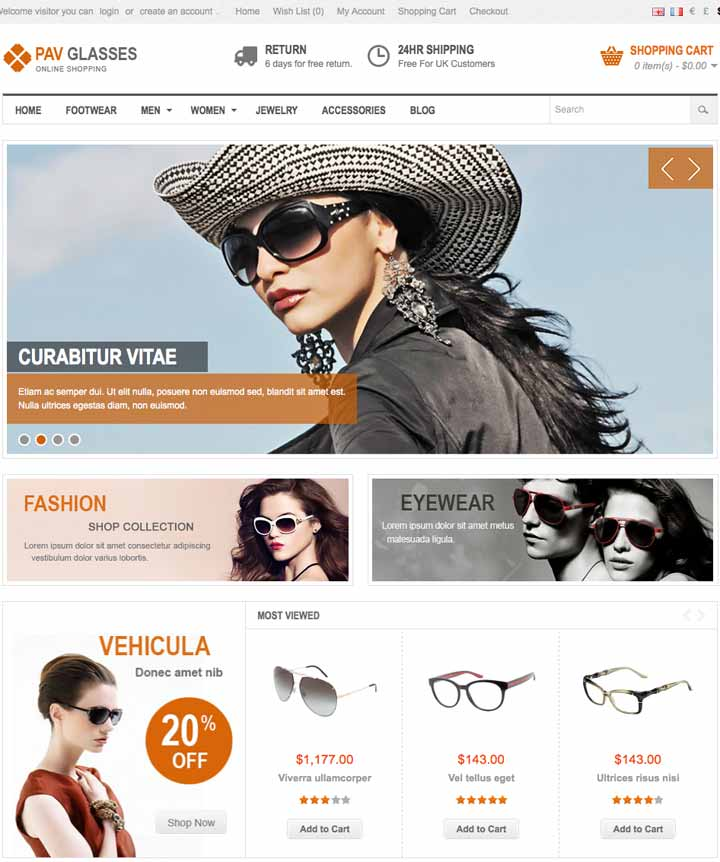 OpenCart Theme for glass store