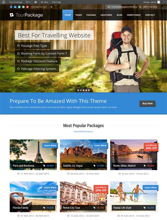 Tour Agency WordPress Theme