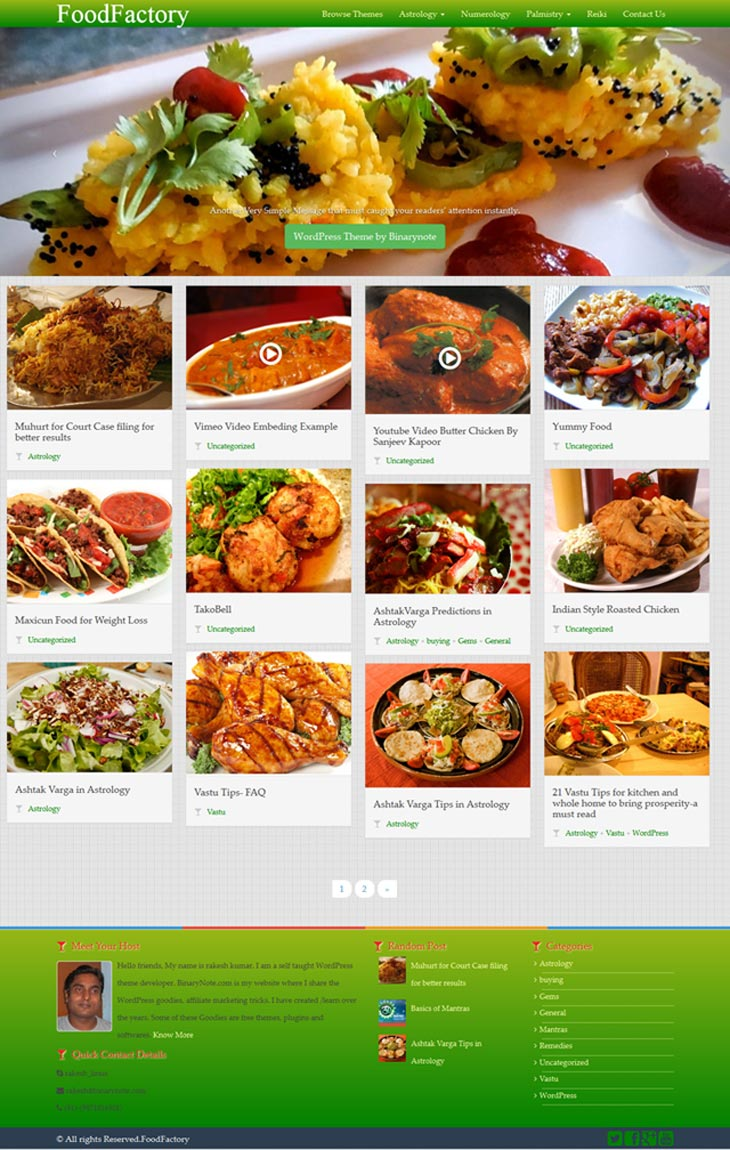 WordPress Theme for Food Blogger