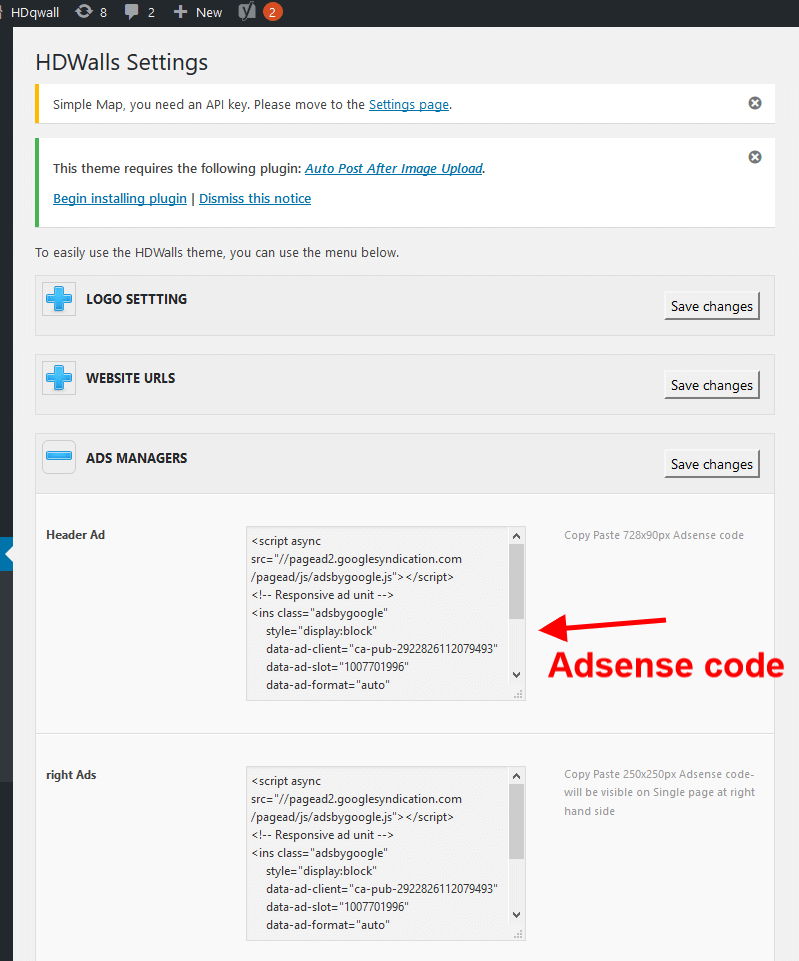 Adsense Management in Photo Blogging
